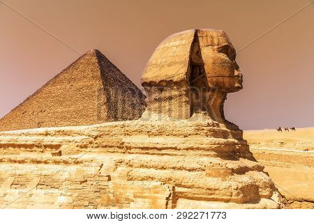The Great Sphinx And The Pyramid Of Cheops In Giza, Egypt