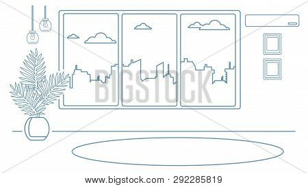 Layout Of The Room With A Large Window Overlooking The City. Room For Yoga, Fitness. Outline Interio