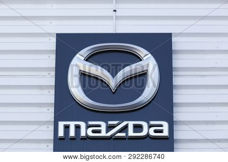 Nimes, France - July 1, 2018: Mazda Logo On A Facade. Mazda Is A Japanese Automaker Based In Fuchu,