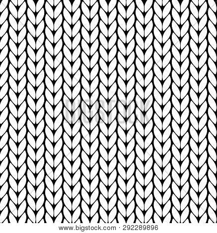 Knitting Vector Pattern. Vector Texture Seamless Pattern. White Knit Texture Seamless Pattern. Vecto