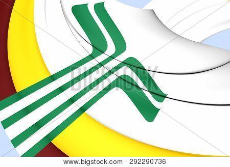 3d Flag Of The Franco-manitobans, Canada. 3d Illustration.