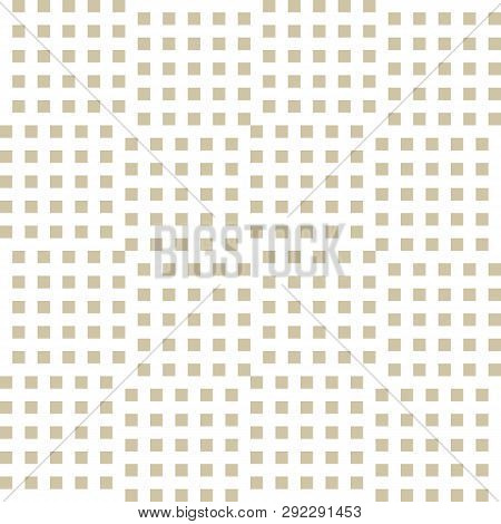 Vector Golden Geometric Seamless Pattern With Small Squares, Repeat Tiles. Abstract Gold And White C