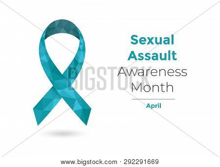 Sexual Assault Awareness Month - April - Concept With Teal Awareness Ribbon For Web And Printing.