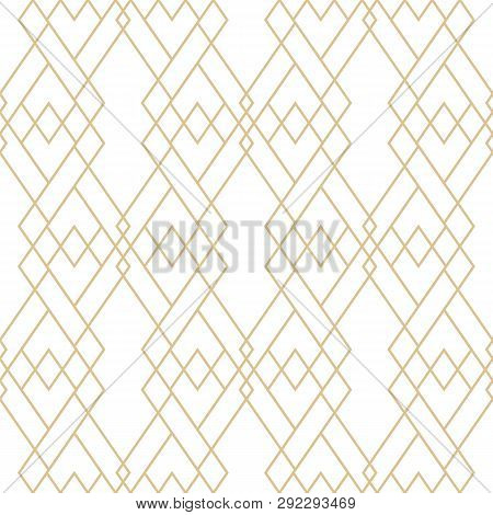 Vector Golden Lines Pattern. Elegant Geometric Seamless Texture With Grid, Diamonds, Rhombuses, Thin