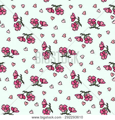 Flower Pattern Of Small Flowers. Seamless Vector Texture