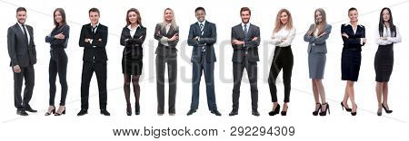 Large group of business people. Isolated over white.