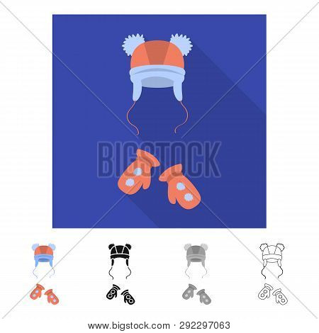 Vector Design Of Hat  And Pompom Icon. Set Of Hat  And Kids   Vector Icon For Stock.
