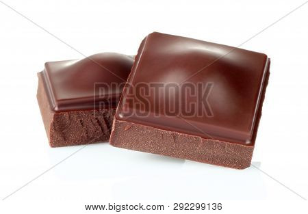 Dark Chocolate Pieces Isolated On White Background