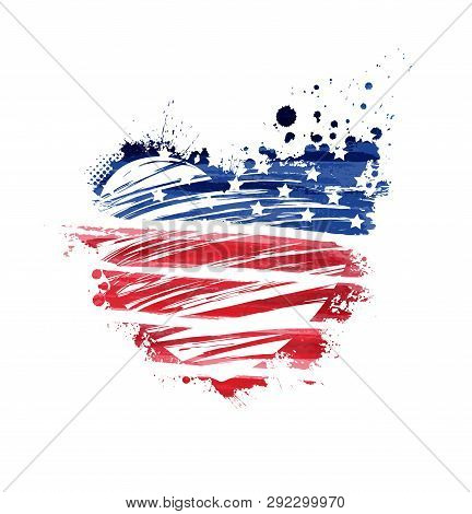 Abstract Grunge Flag In Heart Shape With Text. Template For National Holiday (independence Day, Memo
