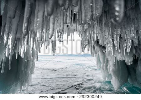 Huge Icicles Of Ice Hang In An Ice Cave
