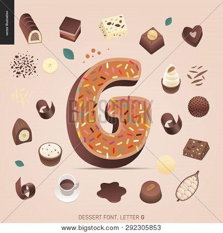 Dessert Font - Letter G - Modern Flat Vector Concept Digital Illustration Of Temptation Font, Sweet