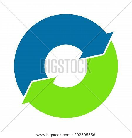 Two Arrows Business Cycle. Cycle Loop Diagram. Life Cycle. Four Arrows Diagram. Vector Stock.