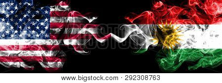 United States Of America Vs Kurdistan, Kurdish Smoky Mystic Flags Placed Side By Side. Thick Colored