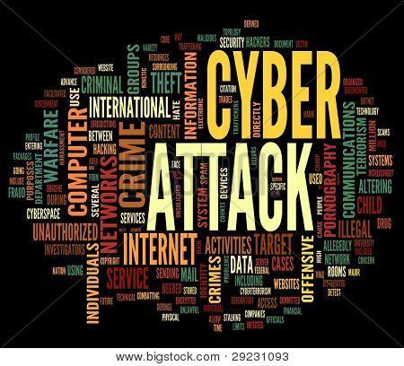 Cyber-Angriff in Wort Tag-Wolke auf schwarzem Hintergrund isoliert Konzept