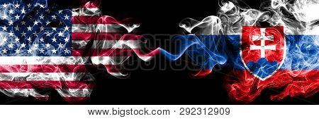 United States Of America Vs Slovakia, Slovakian Smoky Mystic Flags Placed Side By Side. Thick Colore