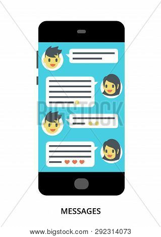Messages Concept On Black Smartphone With Different User Interface Elements, Flat Vector Illustratio