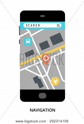 Navigation Concept On Black Smartphone With Different User Interface Elements, Flat Vector Illustrat