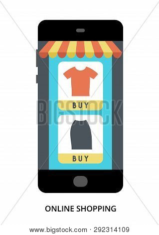 Online Shopping Concept On Black Smartphone With Different User Interface Elements, Flat Vector Illu