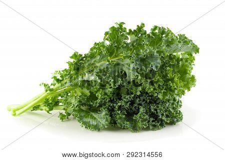Fresh Organic Green Kale Leaves Isolated On White Background