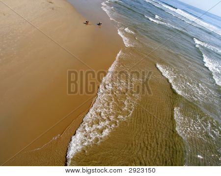 Wide Angle View Of Sea And Shore
