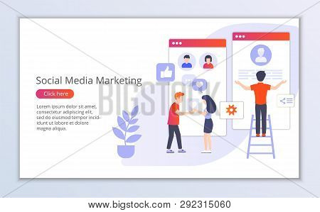 Website Template Of Social Media Marketing, Flat Design Vector Illustration, For Graphic And Web Des