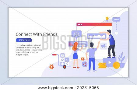 Website Template Of Connect With Friends, Flat Design Vector Illustration, For Graphic And Web Desig