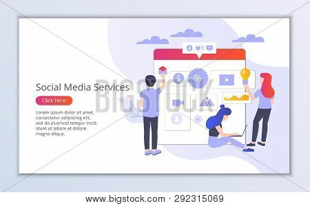 Website Template Of Social Media Services, Flat Design Vector Illustration, For Graphic And Web Desi