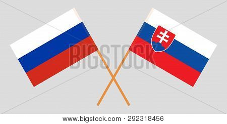 Slovakia And Russia. The Slovakian And Russian Flags. Official Colors. Correct Proportion. Vector Il