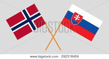 Slovakia And Norway. The Slovakian And Norwegian Flags. Official Colors. Correct Proportion. Vector