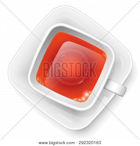 Square Cup With Black Tea On A Saucer. View From Above. Hot Morning Drink.