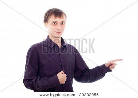 Funny Nerd Man Pointing