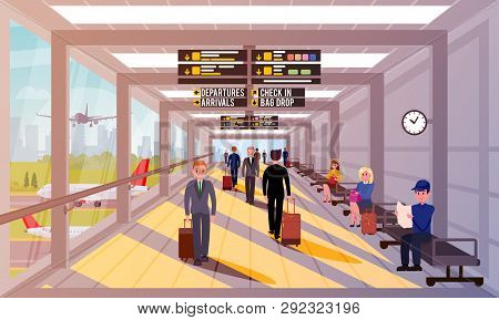 Busy People In Airport Lobby Flat Illustration. Happy People With Travel Bags And Suitcases Walk Aro