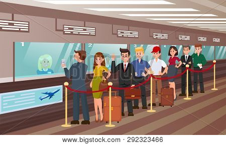 Queue For Boarding Registration Flat Illustration. Vector Colorfull Background. People With Travel B