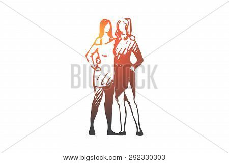 Lgbt, Homosexual, Love, Woman, Couple Concept. Hand Drawn Lesbian Couple Of Two Girls Concept Sketch
