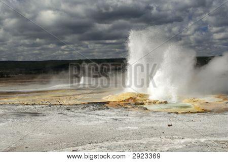 Erupting Geyser At Yellowstone