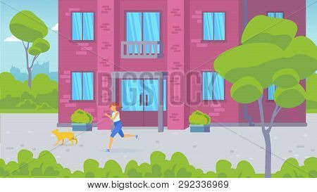 The Entrance Of A Residential Building And A Residential Courtyard. Front Door. Girl Running With He