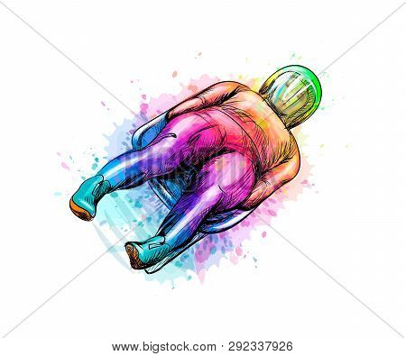 Abstract Luge Sport Winter Sports From Splash Of Watercolors. Vector Illustration Of Paints.