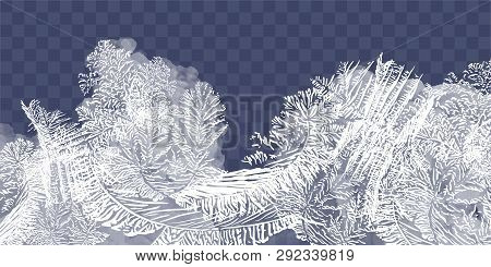 Frost Glass Pattern. Winter Frame On Transparent Background. Vector Christmas Illustration. Vector T
