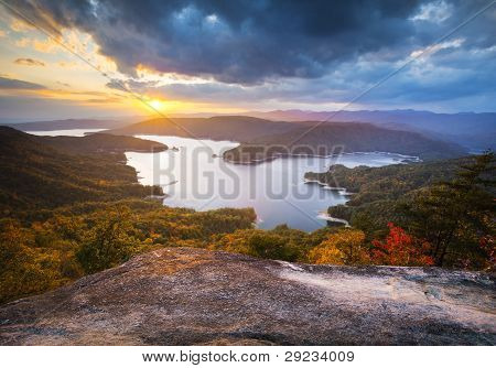 Upstate South Carolina Fall Foliage Lake Jocassee Scenic Autumn Sunset