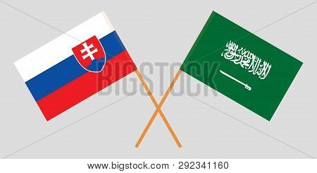 Slovakia And Kingdom Of Saudi Arabia. The Slovakian And Ksa Flags. Official Colors. Correct Proporti