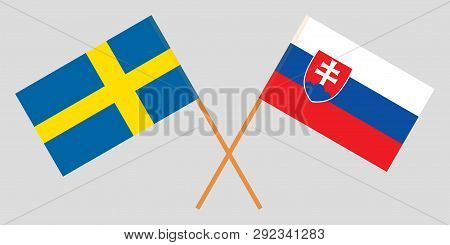 Slovakia And Sweden. The Slovakian And Swedish Flags. Official Colors. Correct Proportion. Vector Il