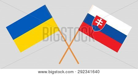 Slovakia And Ukraine. The Slovakian And Ukrainian Flags. Official Colors. Correct Proportion. Vector