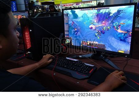 Labuan,malaysia-march 29,2019:young People Playing Video Games Dota 2 In Cyber Cafe At Labuan,malays