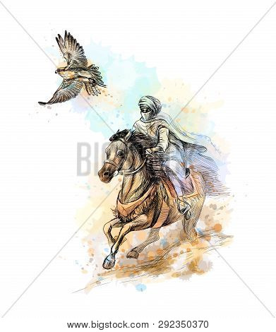 Falcon Hunting. Arabian Man With A Falcon And A Horse From A Splash Of Watercolor, Hand Drawn Sketch