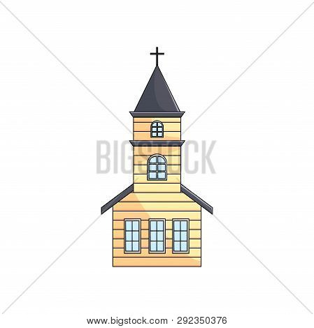 Wooden Church With Spire Cross On Roof Over Empty Background