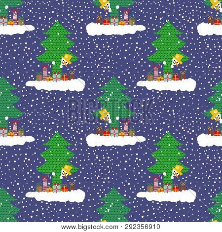 Hand Drawn Cute Snowman On A Cloud With Gifts Peeking Out From Behind A Christmas Tree. Seamless Vec
