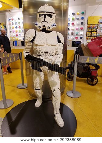 Chicago, Il March 24, 2019, Star Wars Storm Trooper Made Of Legos On Display At The Lego Store At Th