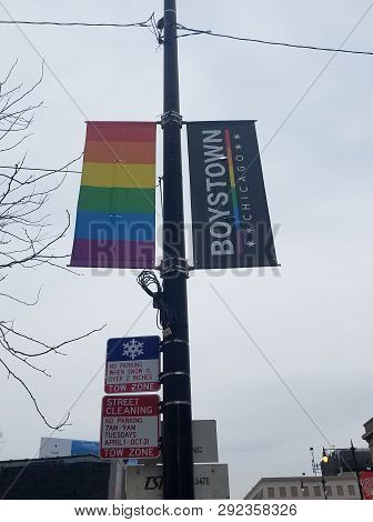 Chicago, Il March 24, 2019, Rainbow Flag For Lgbtq On A Street Pole In The Boystown Neighborhood Of