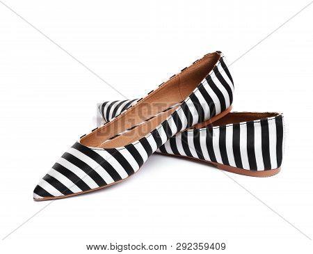 Stylish Female Flat Shoes On White Background