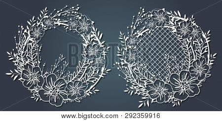 Carved Paper Decoration Pattern For Laser Cutting And Plotter. Flower Wreath, Frame For Your Text. V